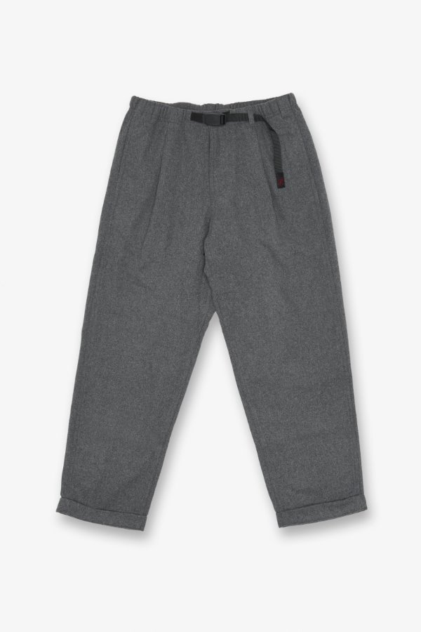 WOOL BLEND TUCK TAPERED PANTS HEATHER CHARCOAL